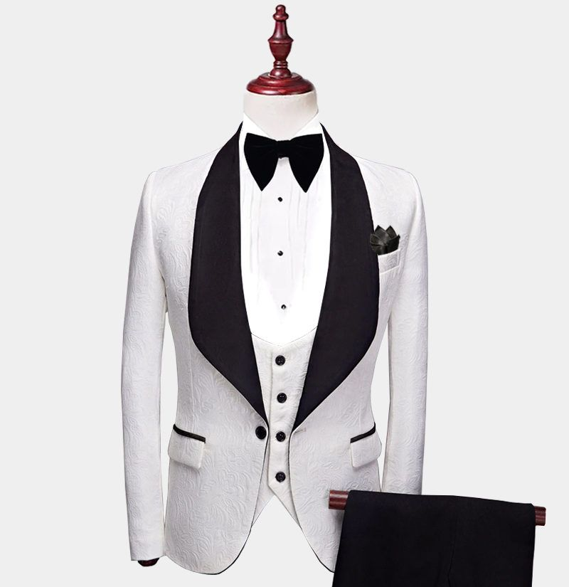 ab5ef3cab4ae40 Shop unique men's white and black tuxedo with shawl lapel at Gentleman's  Guru with FREE Shipping.