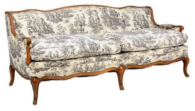 Charming French Style Sofa Toile De Jouy French Provincial Style Sofa .