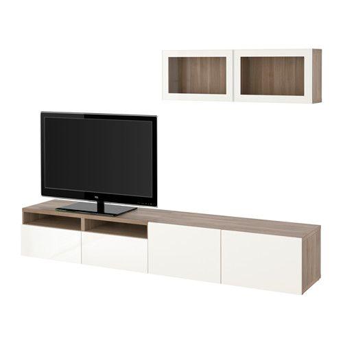 Best tv storage combination glass doors walnut effect - Walnut effect living room furniture ...