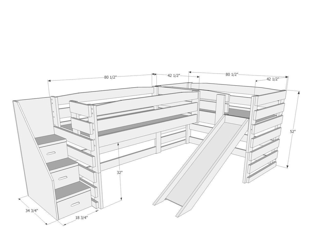 L115 Twin / Twin LShape Loft Bed MidHeight Frontier
