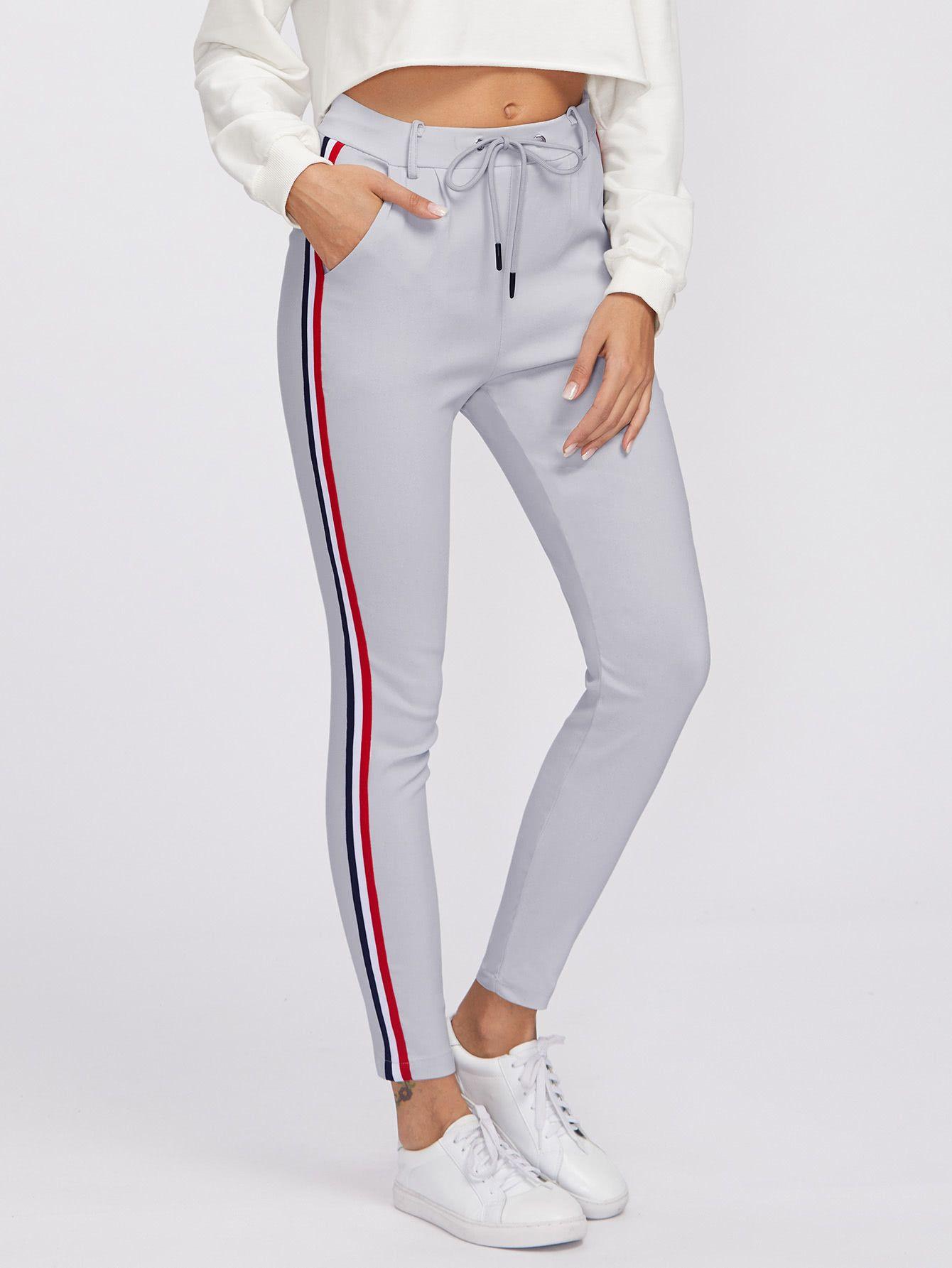 df6a18c50fb Pantalones de rayas laterales con cinturón -Spanish Romwe