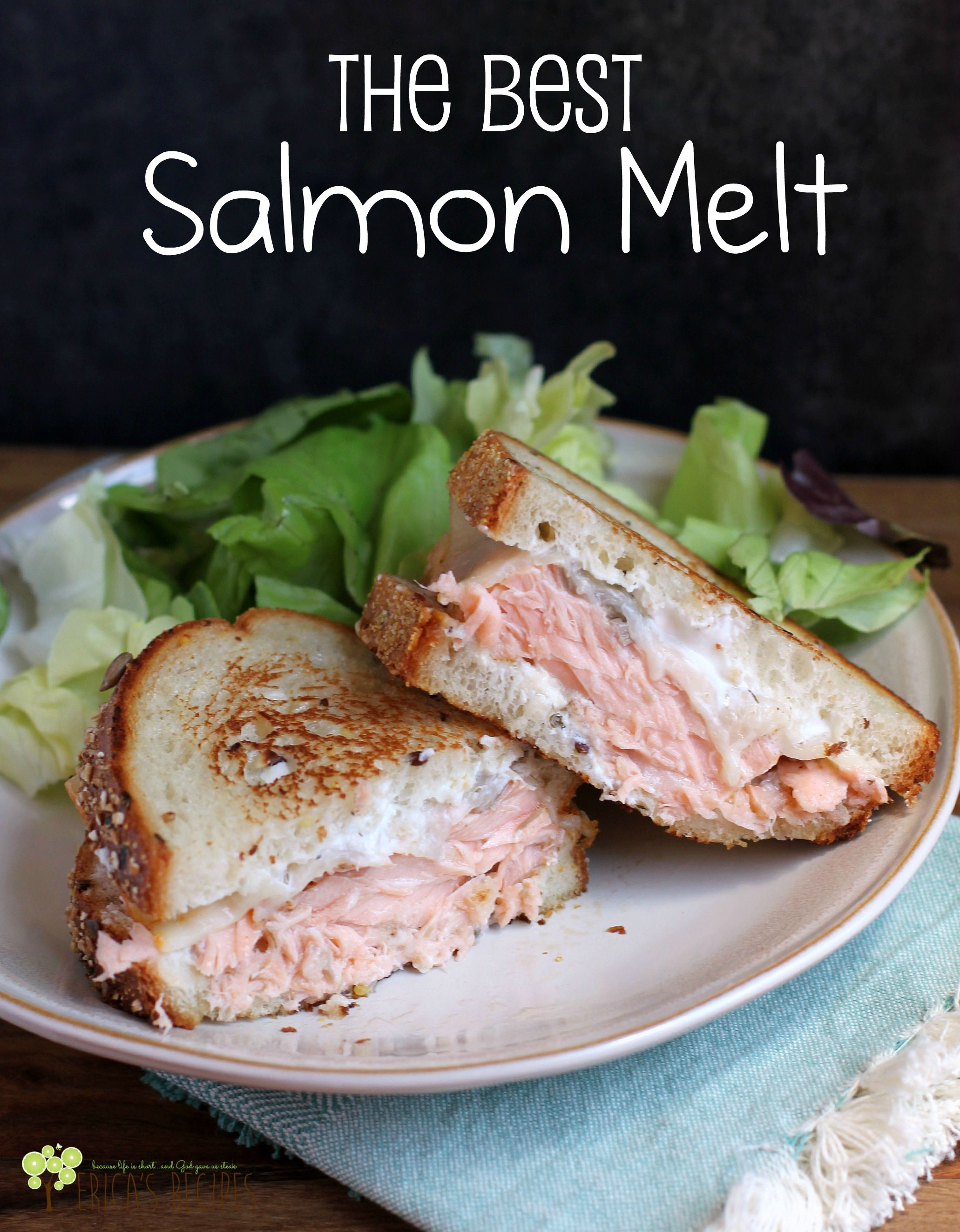 Gorgeous fresh salmon, melty cheese, a little schmere of flavorful yogurt dip, and toasty bread. These are the required elements to give you the Best Salmon Melt sandwich. Ever.