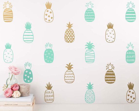 Pineapple Wall Decals Multicolored Decals Unique Gold Decor
