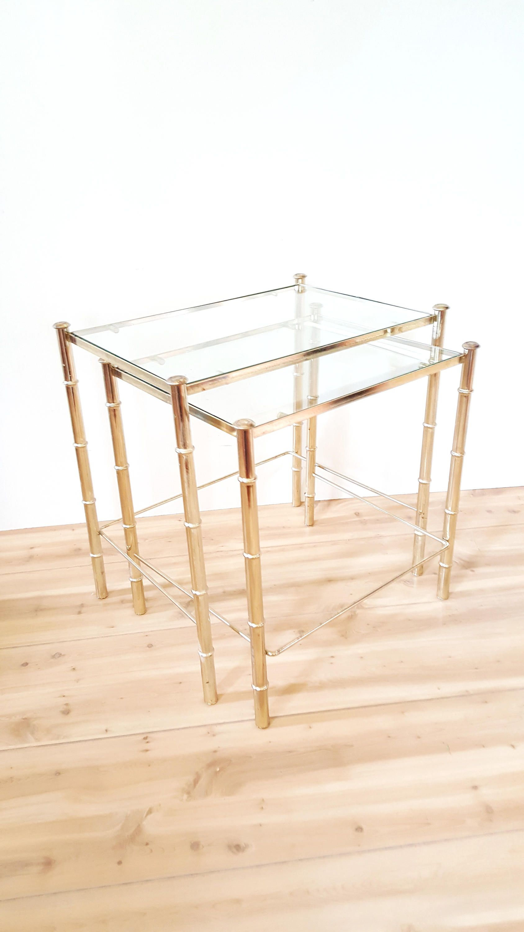 Mid Century Faux Bamboo Nesting Tables Vintage Gold Brass Tone Glass Top Table Hollywood Regency Chinoiserie By Lu Faux Bamboo Nesting Tables Glass Top Table [ 3000 x 1688 Pixel ]