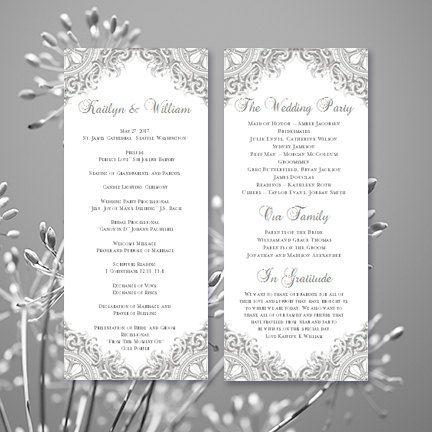wedding program vintage silver gray printable word template