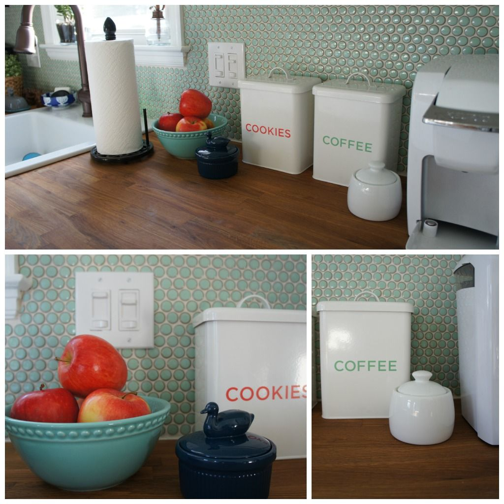 Penny tile backsplash butcher block counters diy - Penny tile backsplash kitchen ...