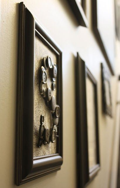 Love this button art for chalkboard wall frame grouping.  tutorial