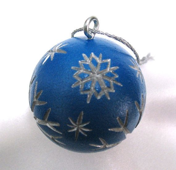 Carved golf ball ornament christmas snowflakes blue silver