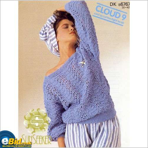 Ladies Cotton Fan Feather Sweater Knitting Pattern Womens Sirdar