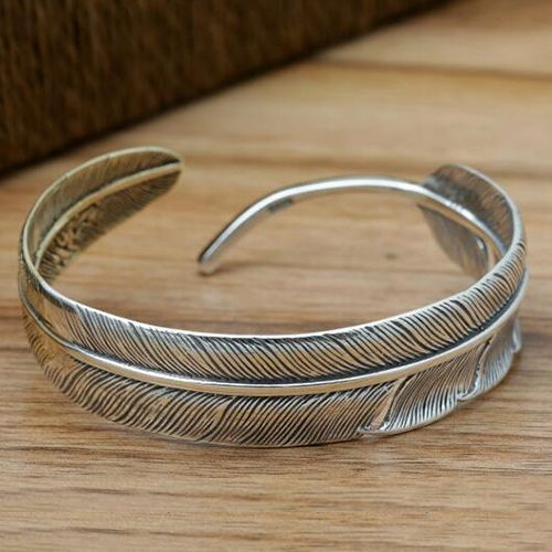 Men S Sterling Silver Two Tone Feather Cuff Bracelet