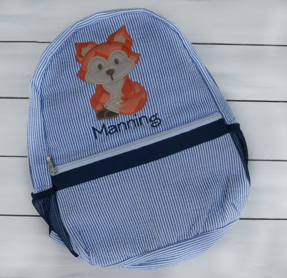 2ad2ccf62a9a Personalized Diaper Bag - Seersucker Diaper Bag - Boys Diaper Bag - Fox  Diaper Bag - Fox Theme Diape