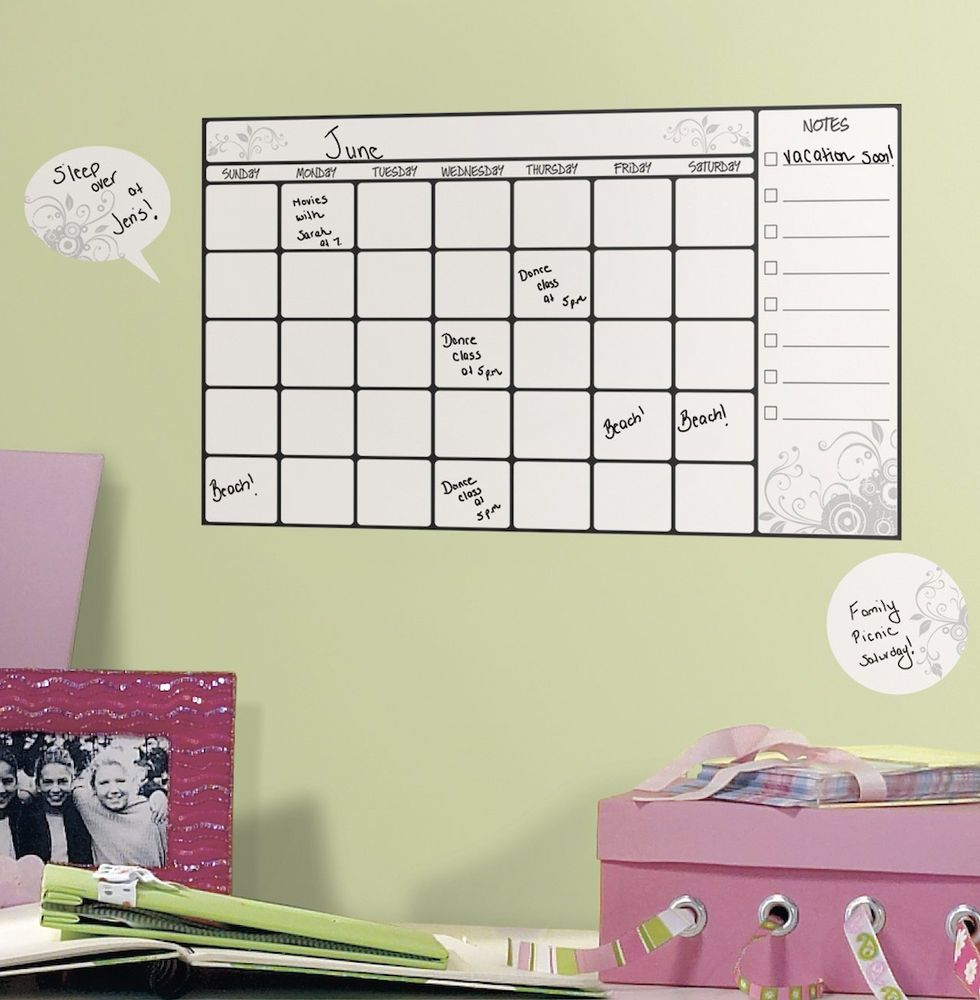 Dry Erase Calendar Monthly Planner Board Peel Stick Wall Decal ...