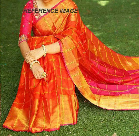 271b98db341cea Uppada Orange color with double checks Big Border Silk Saree ...