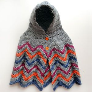 Crochet Pattern: Hooded Chevron Poncho (4 Sizes) (Crochet ...