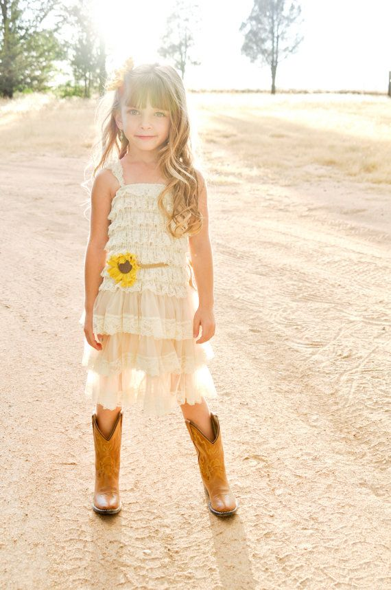 Sunflower flower girl dress embellished big fabric shabby chic sunflower flower girl dress embellished big fabric shabby chic sunflowers on jute sash matching hairpiece is also included dress is available mightylinksfo