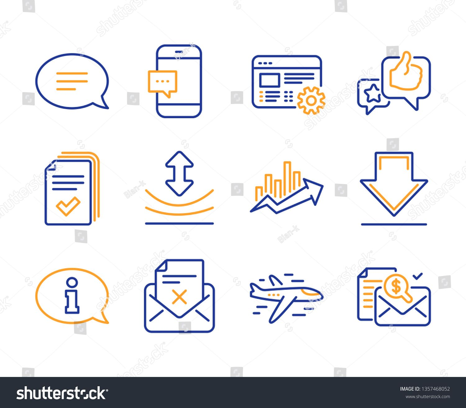 Growth chart, Chat and Like icons simple set. Information