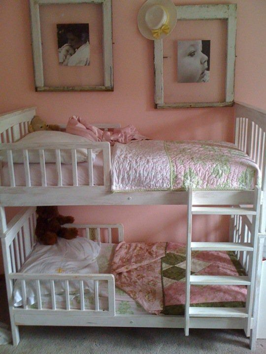Toddler Bunkbed Just Get Two Toddler Beds And Attach Using L Brackets And Rearranging Head Boards Foot Boards With Images Toddler Bunk Beds Toddler Beds Toddler Rooms