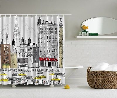 Details About Ny City View Digital Print Shower Curtain Yellow