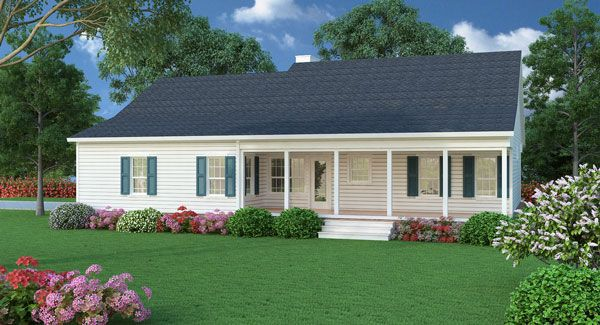 Sutherlin Small Ranch House Plan 5458 3 Bedrooms And 2 Baths The House Designers New House Plans Porch House Plans Building Plans House