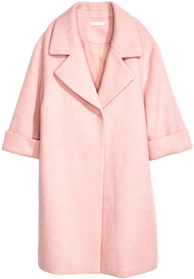 H Amp M Wool Blend Coat Light Pink Ladies Womens Coats