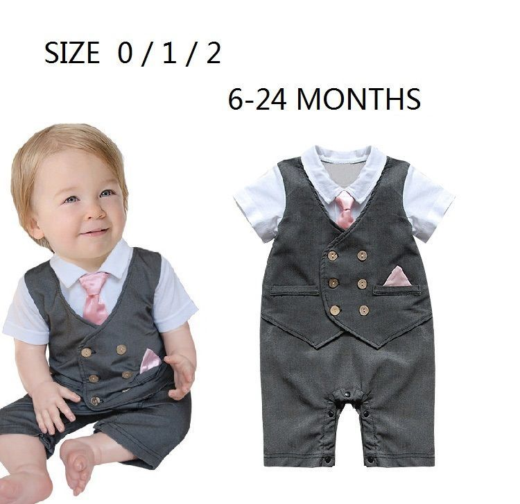 New Baby Boys Wedding Special Occasion Christening Gray Tuxedo Suit Outfit+Vest