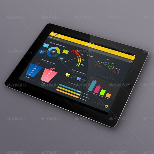 JetPack Panel - Admin Dashboard Tablet GUI Design by Selahattin Taşkıran, via Behance