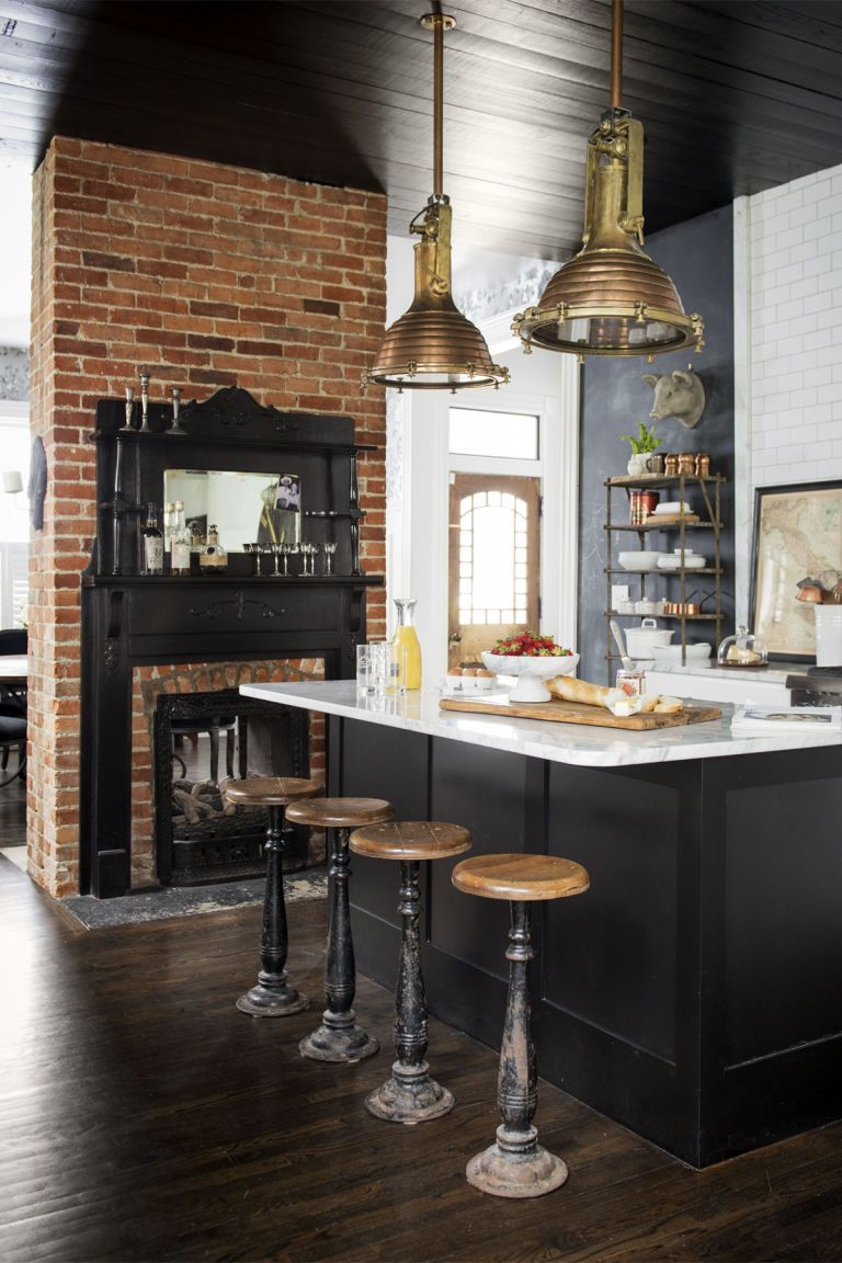 Forget About All White Kitchens A New Trend Is Taking Over Small Kitchen Accessories Interior Design Kitchen Kitchen Design Small kitchen with fireplace