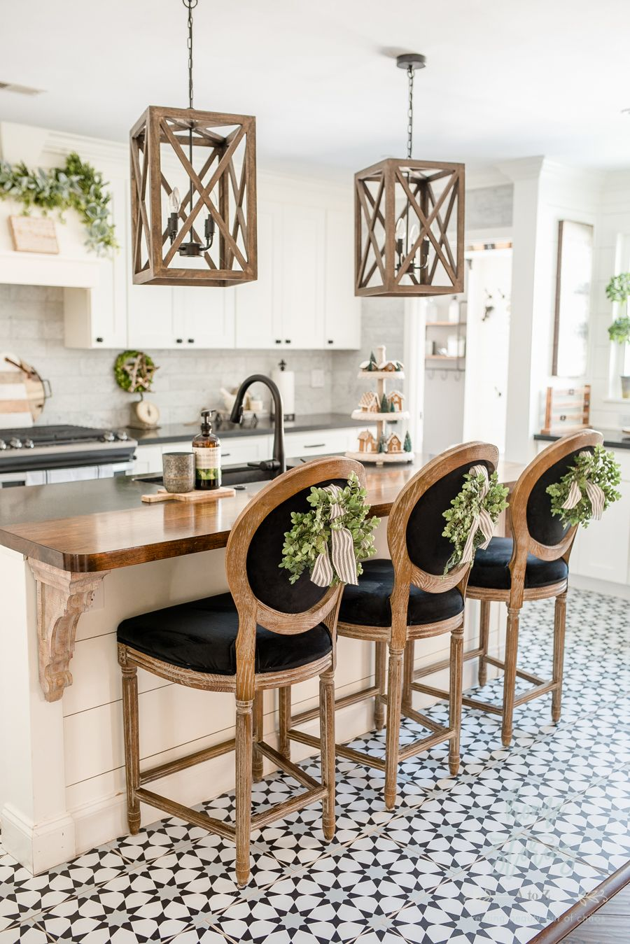 black white farmhouse love the wood countertop and corbels and those chairs in 2019 black on farmhouse kitchen black and white id=95893
