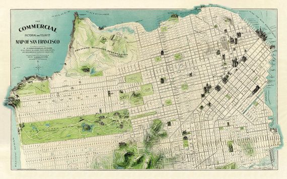 picture relating to San Francisco Maps Printable titled San Francisco map - Archival map print - Pictorial and