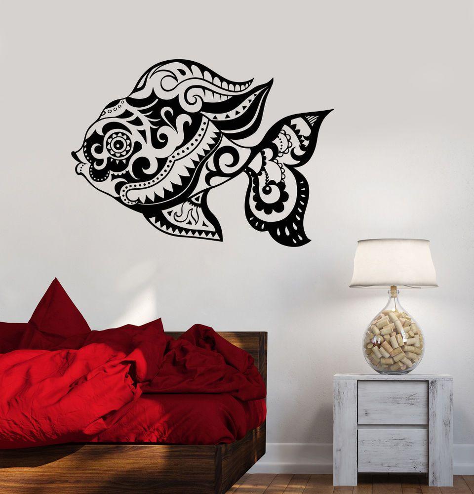 Vinyl Wall Decal Fish Ornament Ocean Marine Bathroom Sea Sticker Mural (ig3480) #Wallstickers4you #VinylArt