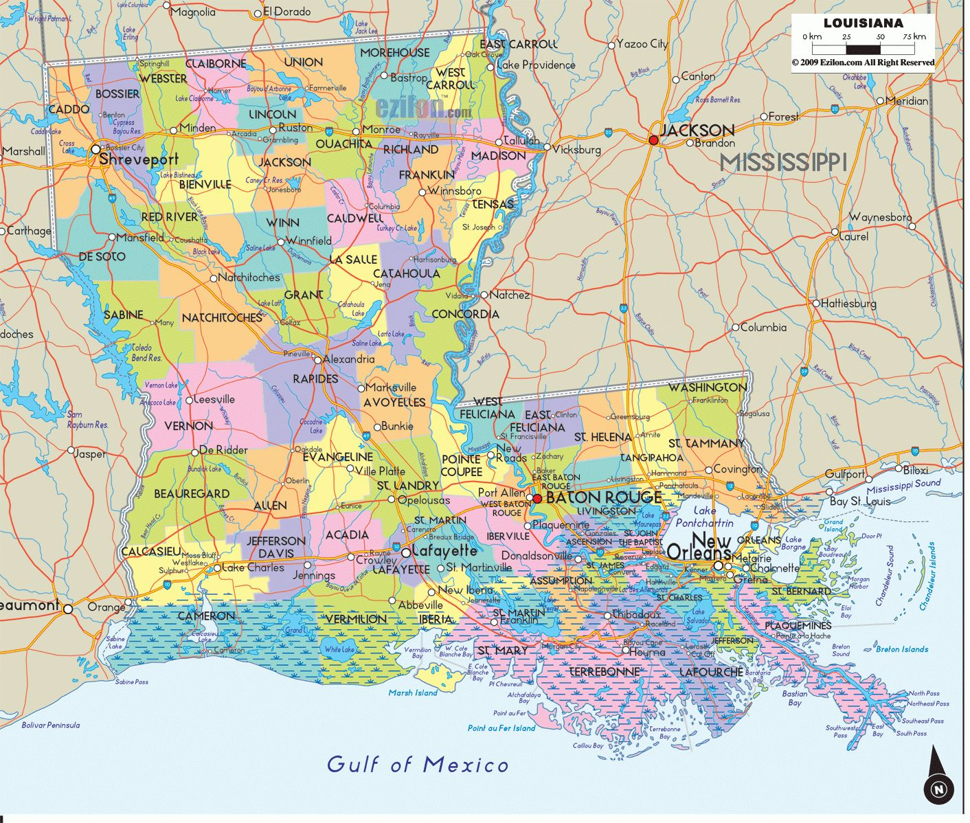 Map Louisiana Cities And Travel Information