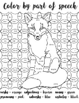 Color By Part Of Speech Fox Parts Of Speech Fox Coloring Page Speech