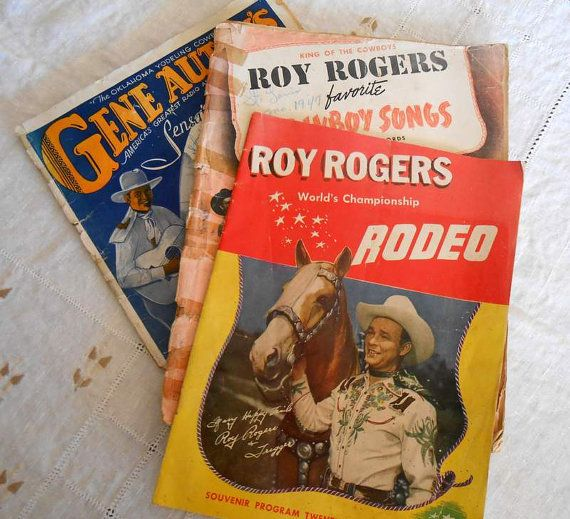 Roy Rogers 1946 Rodeo Souvenir, Songbook, Happy Trails book, Gene Autry Songbook, Bundle of 4