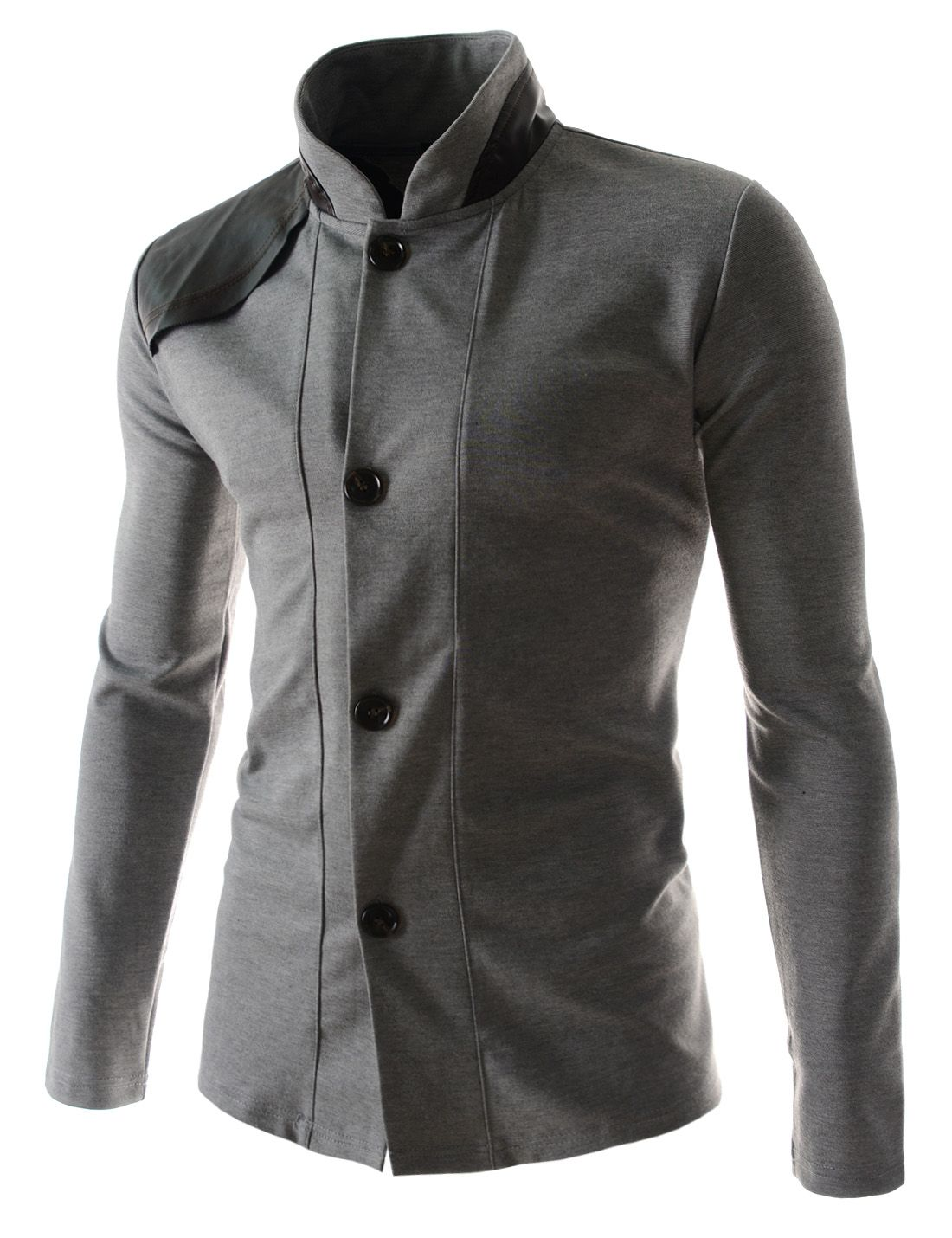 66c107c60c98d Mens Slim Fit Leather Patched Long Sleeve 4 Button cardigans