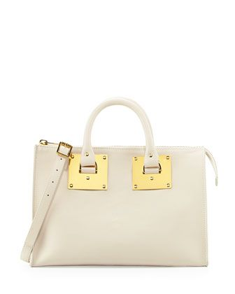 Mini Zip Top Bowling Bag, Stone by Sophie Hulme at Neiman Marcus.