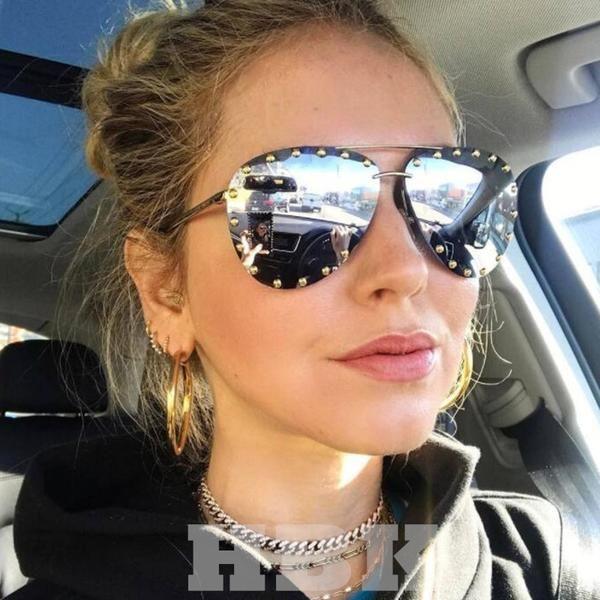 9868116f4da  SUNGLASSES  NEW HBK Luxury Italy Oversized Aviator Sunglasses Women UV400  Retro Brand Designer Big Frame Sun Glasses For Female Silver…