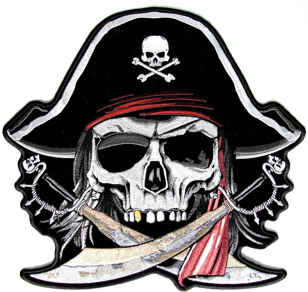 Pirate Skull and Crossbones | Large Pirate Back Patch with ...