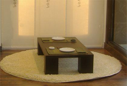 Alfombra redonda Mesa baja Comedor japonés Paneles japoneses - decoracion zen