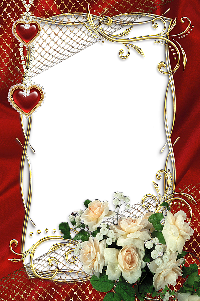 Beautiful Red Transparent Frame with White Roses. | PNG Frames ...