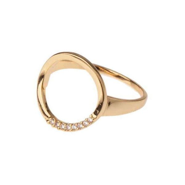 TOPSHOP **Open Circle Ring by Orelia (¥2,570) ❤ liked on Polyvore featuring jewelry, rings, gold, topshop, topshop jewelry, circle jewelry, topshop rings and circle ring