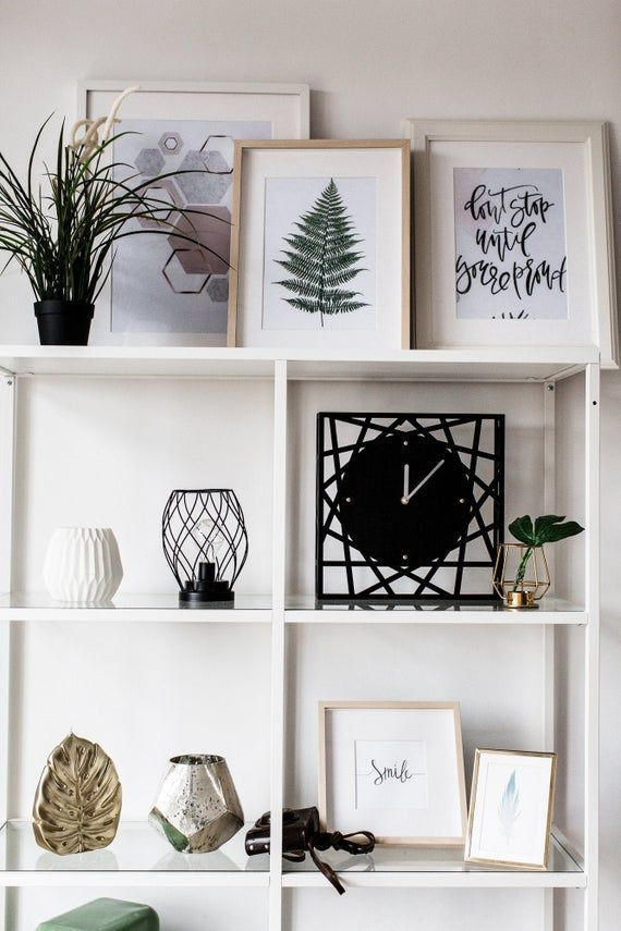 Office desk clock, Black classic interior decor, Square clock with metal hands, Handmade clock free shipping, Wanduhr, Standing modern clock