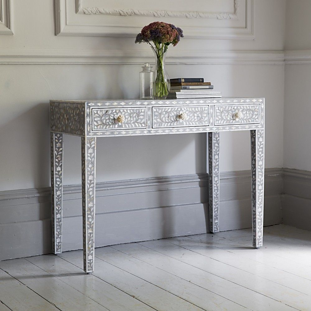Classic Mother Of Pearl Dressing Table In Silver Grey Contemporary Console Table Contemporary Console Inlay Furniture
