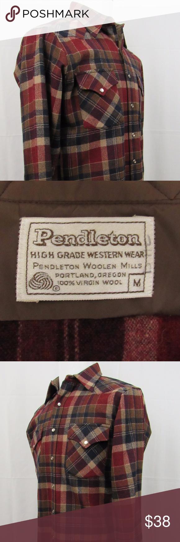 Pendleton Men's Flannel Brown Plaid Shirt 100% Virgin Wool Long Sleeve (M) WUC+