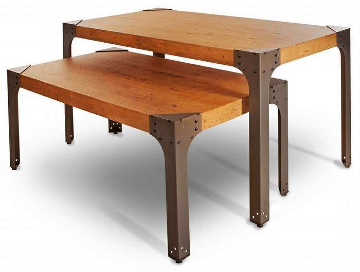 Distressed Pine Industrial Nesting Table Set Looks Fantastic In .