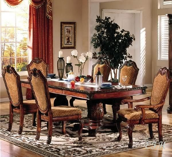 Dining Sets 107578 New 7Pc Formal Traditional Chateau Rustic Cherry