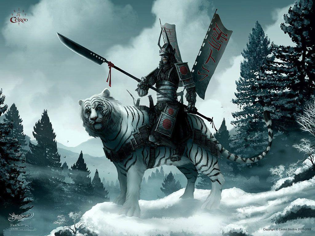 Guerreiro Japones Montado No Tigre Wallpaper Anime Samurai Samurai Wallpaper What Is Digital Art