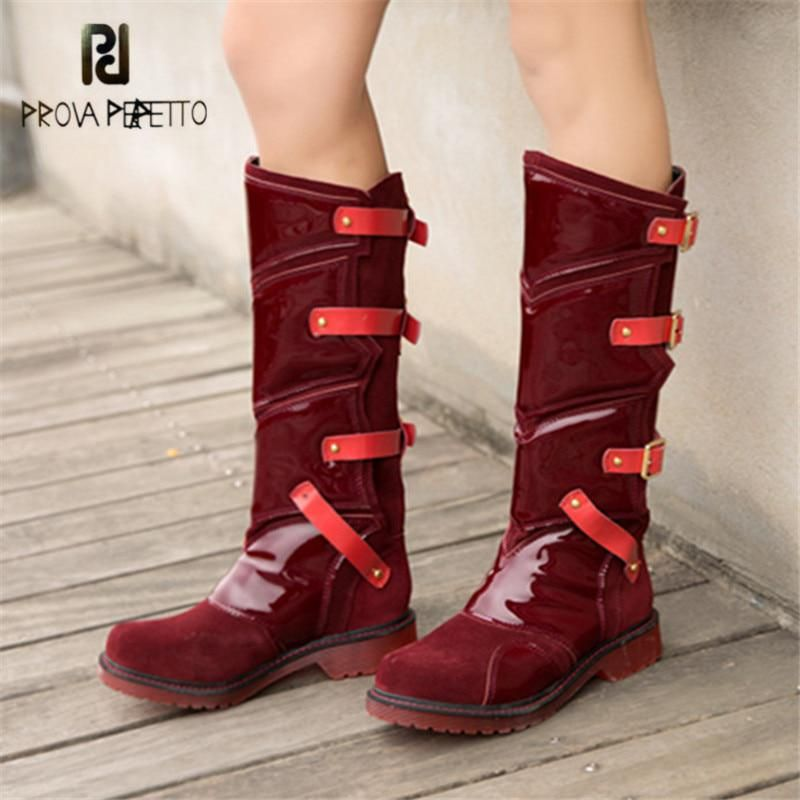 f5e13d485dda Thigh Length Boots · Prova Perfetto Punk Style Women Martin Boots Platform  Flat Botas Mujer Straps Buckles Rubber Shoes Woman