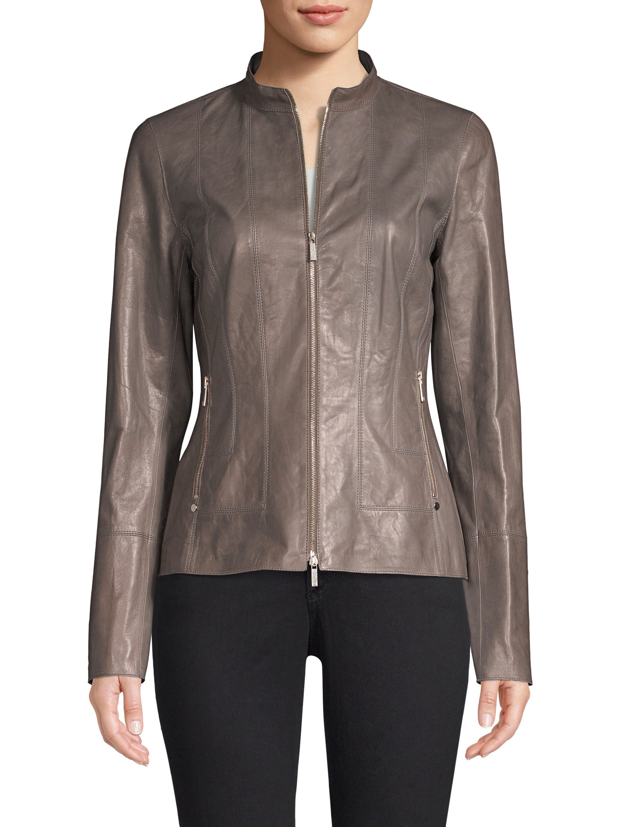 47a280344a22 Lafayette 148 New York Sadie Leather Jacket - Deep Rock 16 ...
