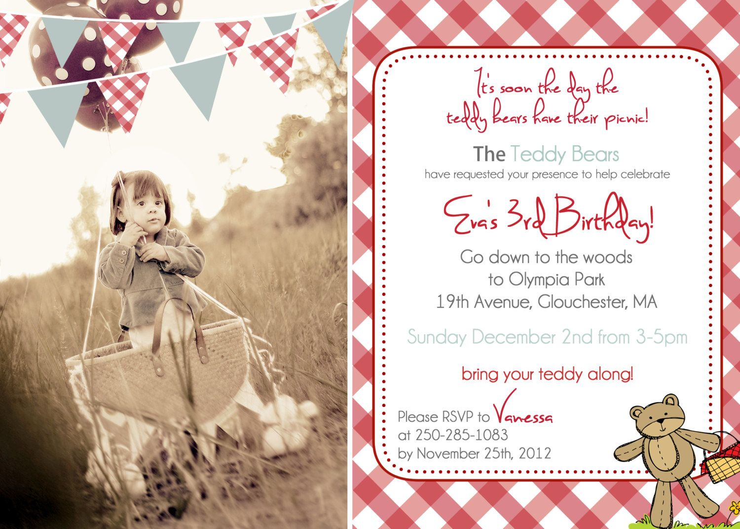 teddy bear picnic invitations template - Google Search | Fianna\'s ...