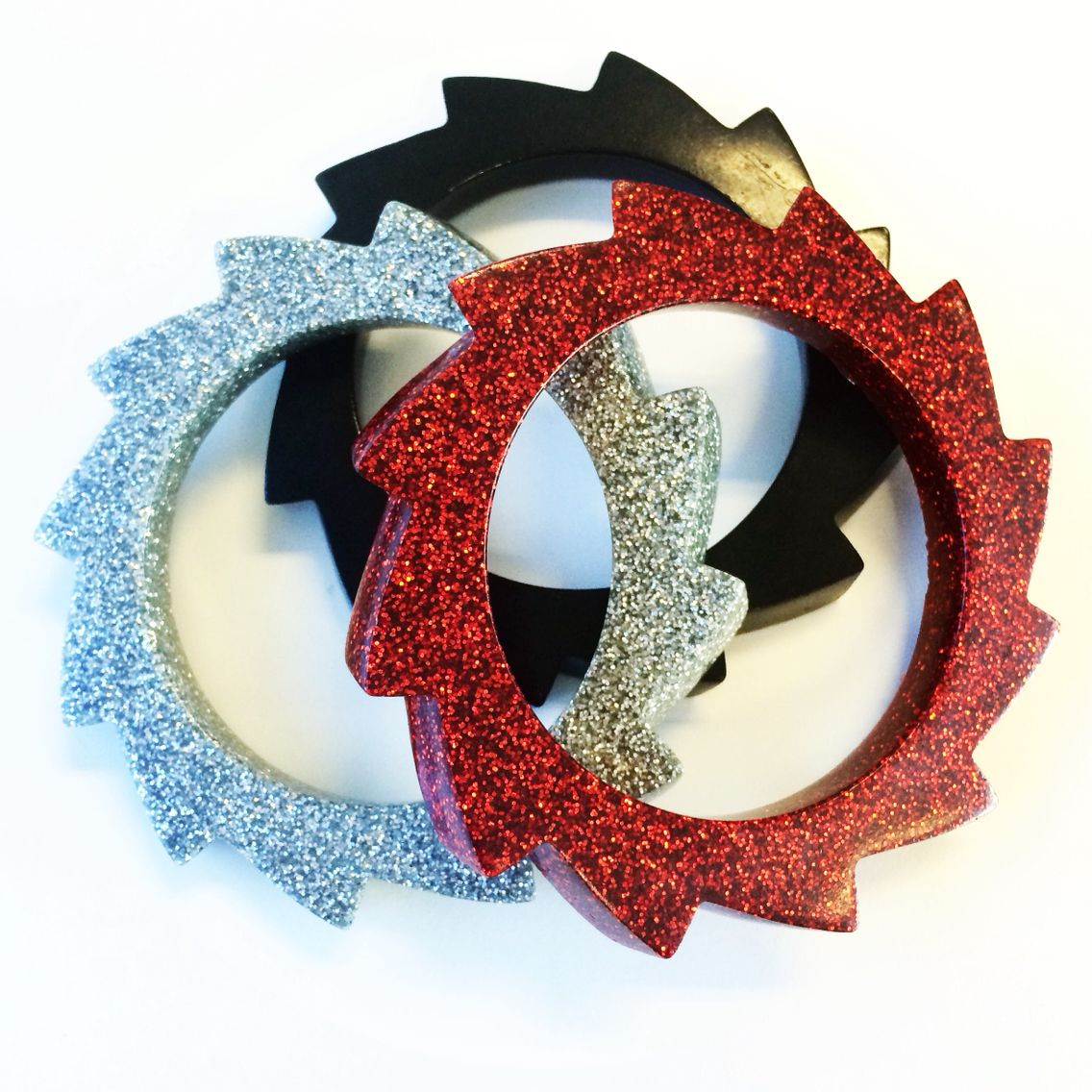 Bangles. Hand made. Resin jewellery. Avant Garde jewelry. Glitter. Glitterazzi.  blackbettyo.instagram.com blackbettysvintage.etsy.com